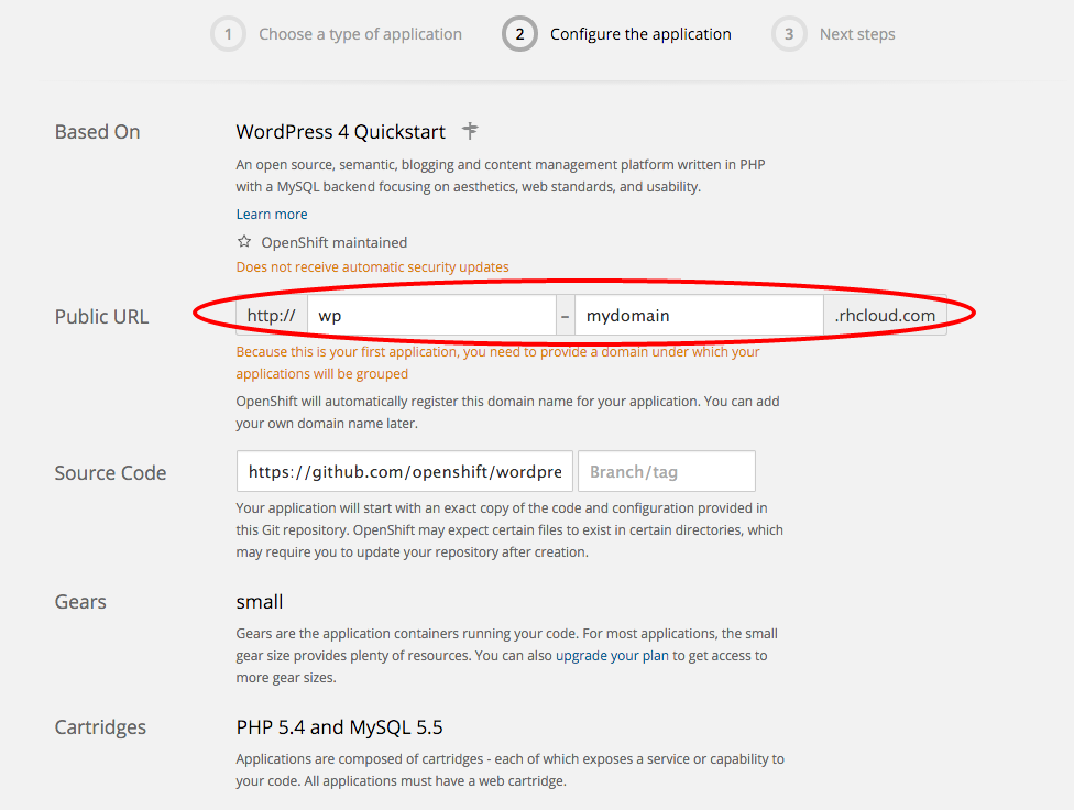 Host WordPress Free on OpenShift: name your app.