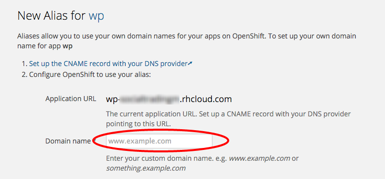 OpenShift WP Free Hosting: domain name set up